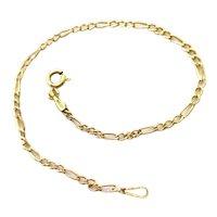 "14K Yellow Gold Figaro Chain Bracelet 6.5"""