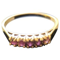 14K Gold Band Ring with Five Small Ruby Stones