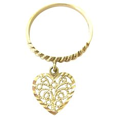 14K Yellow Gold Band Ring with Dangle Heart