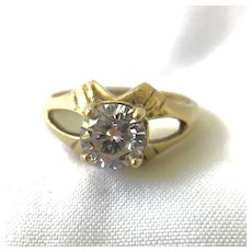 10K Yellow Gold Faux Diamond Cubic Zirconia Solitaire Ring
