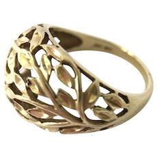 10K Yellow Gold Filigree Dome Ring