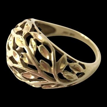 10K Yellow Gold Filigree Dome Ring