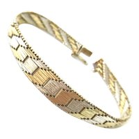 Two Tone Sterling Silver and Vermeil Gold Graduated Bracelet 925