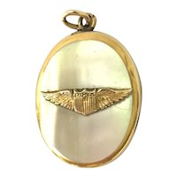 Vintage 1940's United States Air Force Mother of Pearl Locket