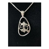 "Sterling Silver Pisces Fish Pendant with 20"" Sterling Box Chain"