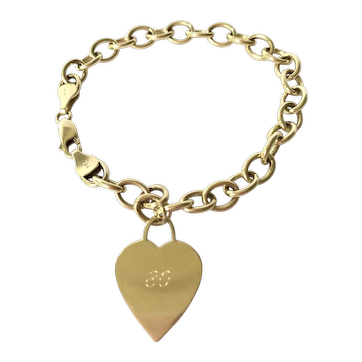 14K Gold Charm Bracelet with One Heart Charm
