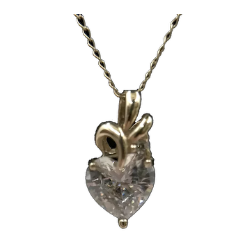 14K Gold Chain with Faux Cubic Zircon Diamond Heart Pendant