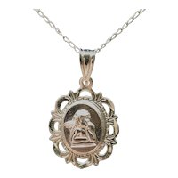 14K Yellow Gold Chain with Guardian Angel 14 K Gold Cherub Pendant