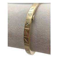 14K Gold Etched Hinged Bangle Bracelet