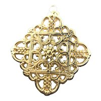 Italian 14K Gold Openwork Large Floral Pendant