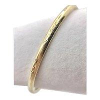 14K Gold Hinged Oval Bangle Bracelet