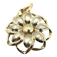 14K Two Tone Gold Floral Pendant