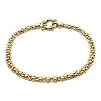 "14K Yellow Gold Braided Popcorn Bead Chain Bracelet 6.5"""