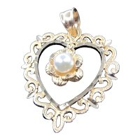 14K Yellow Gold Scroll Filigree Heart Pendant with Dangling Cultured Pearl