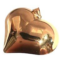 14K Yellow Gold Large Puffed Heart Pendant