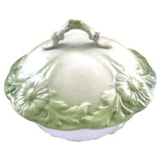 Vintage White and Green Pottery Covered Soap Dish 1800's