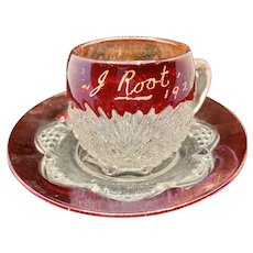 Ruby Red Flash Pressed Glass Cup and Saucer 1926