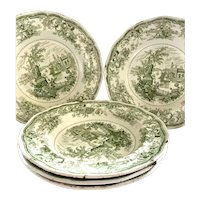 Staffordshire Green Transferware Soup Plates/Bowls from 1800's