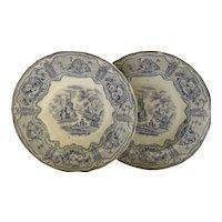 "English Romantic Staffordshire Transferware Blue 1800's Soup Plate Pattern ""Syria"""