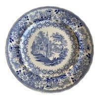 "Swedish Gustavsberg Pottery Blue Transferware  Plates from 1840's  ""Ecclesial"""