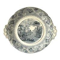Romantic Staffordshire Transferware Circular 1800's Platter with Molded Handles