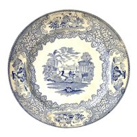 """1800's Blue and White Transferware Plate 10 3/4"""" """"Triumphal Car"""" by J.M.P. Bell & Co."""
