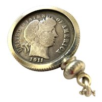 1911 Barber Coin Dime Pendant  Necklace with Sterling Silver Chain
