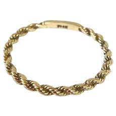 14K Yellow Gold Rope Twist Band Ring