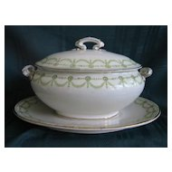 Small Green Transferware China Sauce Tureen with Platter