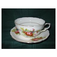 Three Matching  Porcelain Victorian  Cups and Saucers   with Pink Roses