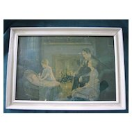 Vintage Framed Print Family with New Baby 1920-1930