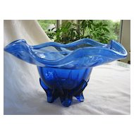 Art Glass Free Blown Signed  Cobalt Blue Bowl