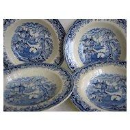 Set of Four Matching Flow Blue Bowls
