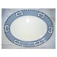"Staffordshire  Navy Blue Regal Platter 14"" x 11""  1925-1931"