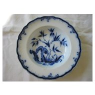 Antique Large Flow Blue Bowl  Kaolin Ware ( 2 )  Pattern Indian Plant  1800's