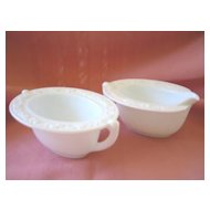 White Glass Embossed Decorated Oval Sugar and Creamer