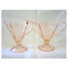 Elegant Pink Etched Glass Crystal Sugar and Creamer