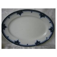Wonderful Staffordshire Flow Blue Platter  Tulip Pattern  Gibson & Son 1912