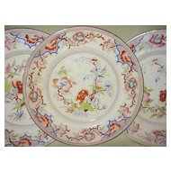 """Set of Three Antique Polychromed Oriental Plates   by  Samuel Alcock & Co.   Pattern """"Genoa"""""""