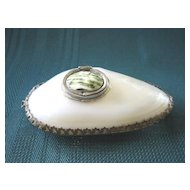 Victorian Perfumer/ Etui/ Snuff Box   Mother of Pearl Shell    Brass Trimmed