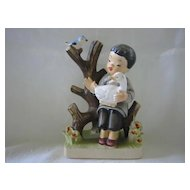 Figurine of Oriental Girl with Duck and Bird