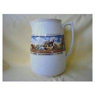 "English Staffordshire Ceramic Pitcher  Celia Gibsons ""Dickens Days"""