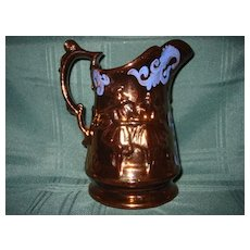 English Allertons Copper Luster Ware Pitcher