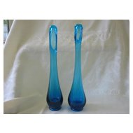"Two Fenton Blue 10 1/2"" Bud Vases"