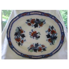 Flow Blue Polychrome Ironstone Platter
