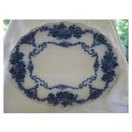 Antique Large Floral Flow Blue Platter  Unidentified