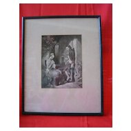 Framed Vintage Black & White Print of 1800's Couple