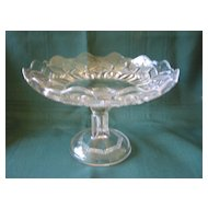 Vintage Small Crystal Cake Plate or Compote Dish