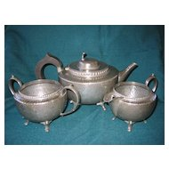 English Hammered  Pewter Tea Set