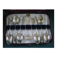 Box of Six Silver Plated Spoons with Sugar Tongs